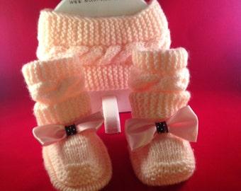 Peach headband and booties Baby Girl Booties Headband, Baby Booties, Baby Shower Gift, Newborn Photo Prop pregnant mom best baby booties