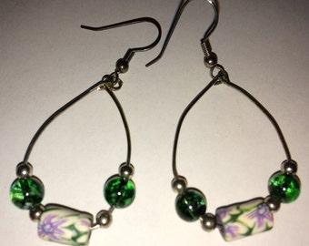 Green/Lavender Millefiori-style  Earrings