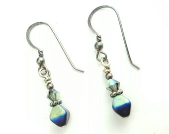 Vintage Beaded Multicolor Clay and Silver Tone Earrings on Silver Earwire