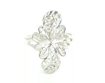 Vintage Sterling Silver Art Nouveau Filigree Shield Ring- Size 8.5
