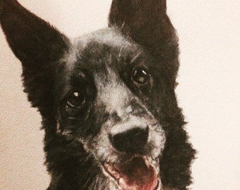 Custom Dog Portrait From Photograph SAMPLE A4