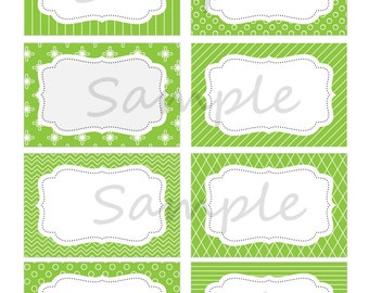 Green and White Labels, Green Party Tags,St. Patricks Day Labels,Green and White Baby Shower Tags,INSTANTLY DOWNLOADABLE- Edit at home NOW!!