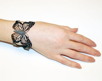 Leather Bracelet cuff, Leather Bracelet butterfly, Ladies Leather Bracelets