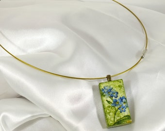 Recycled Domino decoupage pendant