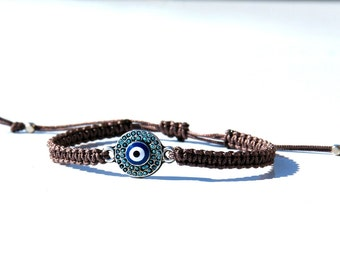 Evil eye bracelet-Silver evil eye charm-Macrame evil eye bracelet-Turkish Evil eye -Protection bracelet-Evil eye for men-Luck bracelet