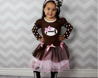Personalize it! Super Bowl Girl's Football Boutique Dress Pink Bows Outfit Girls Infants Todder Kids Clothes Sports Fan