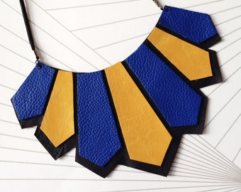 leather geometric necklace