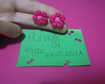 pink flowers earrings