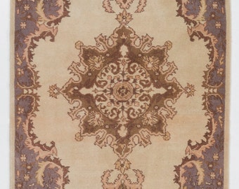 3.8x7.8 Ft Vintage Turkish Oushak scatter Rug - Beautiful Soft colors; beige, brown, purple, pink. Ideal for home & office decor.  Y280