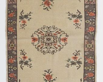 4x6.8 Ft Elegant Art Deco Chinese Rug   Decortive Old Handmade Carpet. Wool