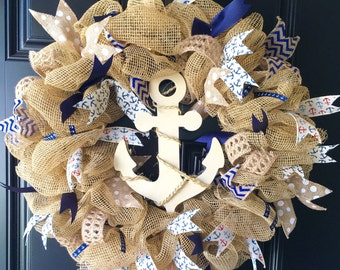 Large deco mesh anchor Wreath **FREE SHIPPING!!!!**