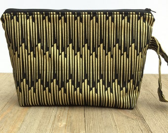 Medium Black and Gold Cosmetic Bag