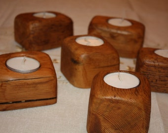 Single Tealight Holder - reclaimed wood