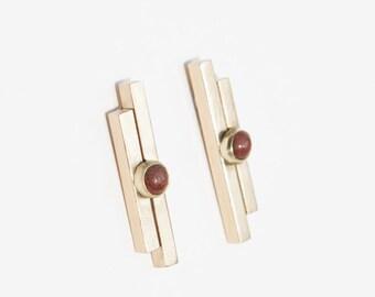 Bowie Earrings in Red Jasper