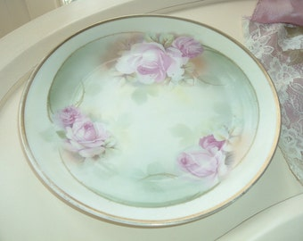 beautiful antique Prussia plate with pink roses