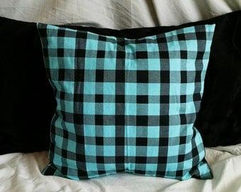 Light Blue/Black Plaid Throw Pillow Case/Cover