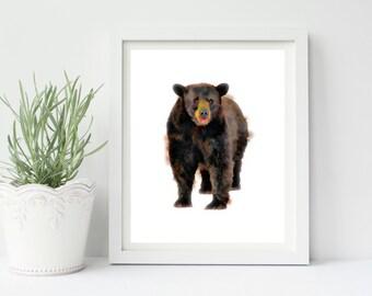 Woodland Nursery, Printable Wall Art, Wall Decor, Watercolor Bear Print, Nursery Decor, Nursery Art, Woodland Animals, Instant Download