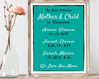 Personalized Dates Printable for Mom The Love Between Mother & Child Custom Child Birth dates Printable Mother's Day Gift Wife Gift Digital