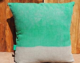 "Natural linen pillow ""Tie & Dye green meadow"", ""Little Miss Moses"" Collection, 100% handmade"