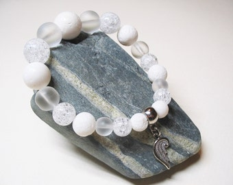 Angel Bracelet-White Coral Bracelet-Quartz Cristal Bracelet-Angel Jewelry-Gemstone Bracelet-Energy Bracelet-Romantic Bracelet-Coral Bracelet