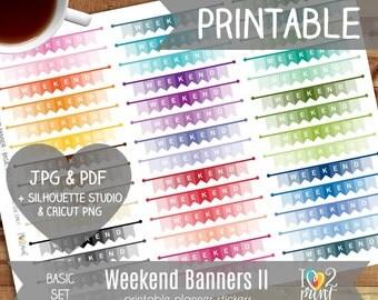 Weekend Flags Printable Planner Stickers, Erin Condren Planner Stickers, Weekend Planner Stickers, Weekend Printable Stickers - CUT FILES