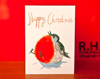 Happy Christmas Card - Fat Robin - Who ate all the worms?