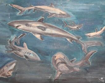 Vintage oil painting seascape sharks signed