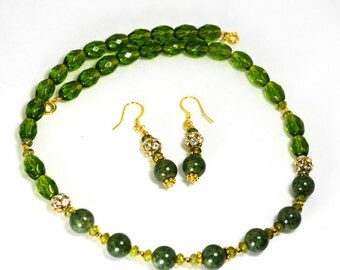 Green Peridot and Stone Set