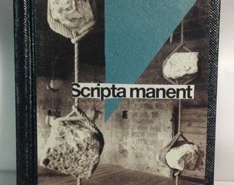 """Original A6 sketchbook. Analog collage """"Scripta manent"""". Hand cut collage sketchbook"""