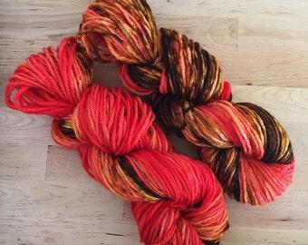 Gradient Yarn | Hand Dyed Yarn | Superwash Wool | Bulky Worsted Weight | 100 g. | Pumpkin Latte