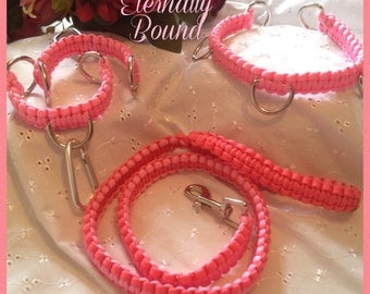 BDSM Collar,lead & Cuffs set in Pink,made from Paracord,D rings,ribbons,padlock,submissive,slave,pet play,