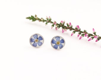 Gift for daughter, Blue stud earrings, Dried flower studs, Forget me not flowers, Resin studs, Tiny stud earrings, Real flower resin plugs