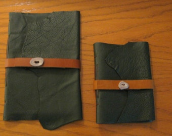 Two Green Leather Journals-Matched Set