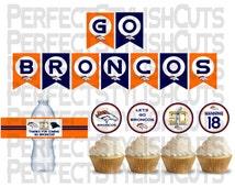 Denver Broncos Banner, Broncos Cupcake Toppers, 2016 Superbowl 50 Party, Water Bottle, Broncos Super Bowl, Instant Download