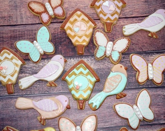 Birds, Butterflies, Birdhouse, Birthday, Tea Party, Wedding, Shower, Favor, Cookie Assortment