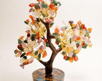 Orgone Tree w/ Red Jasper, Green Aventurine, Turquoise, Amethyst, Copper, Orange Carnelian, Golden Quartz & Clear Quartz
