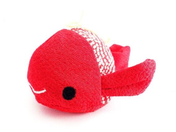 Stuffed plush soft toy fish koi carp japanese kimono chirimen for Koi fish plush