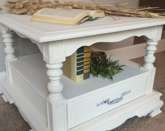SOLD!! White Shabby Chic Victorian Inspired Night Stand / End Table / Coffee Table
