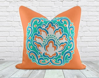 Medallion Blossom Orange Linen Pillow Case With Engineer Floral Motif and small trellis Designs