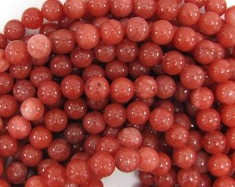 """10mm pink jade round beads 15.5"""" strand 11237"""