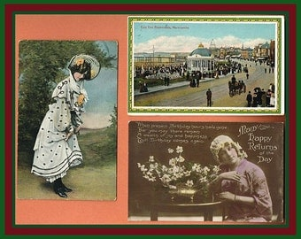 3 Vintage British Postcards - 1915