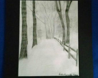 Winter Landscape print 8x10 matted to 11x14