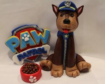 """Paw Patrol Fondant """"Chase"""" Cake Topper Set"""