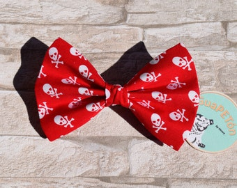 "Bow Tie Bowtie ""Red Skull"" for dogs, cats or other pets, coloured chequered"