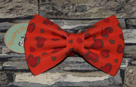 "Bow Tie Bowtie ""Valentine"" for dogs, cats or other pets, red hearts"