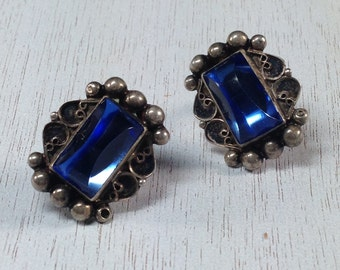 Luxurious Signed Sterling Silver 925 Blue Cab Vintage Estate Screw Back Earrings Christmas Present - Holiday Gift