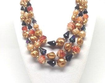 Enchanting Red Black Bead Triple Strand Gold Tone Vintage Estate Necklace