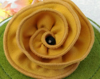 Flower knitted fabric brooch Mustard color flower Pin flower Fabric jewellery Flower pin Mother gift Apparel flower Jewelry Dress flower