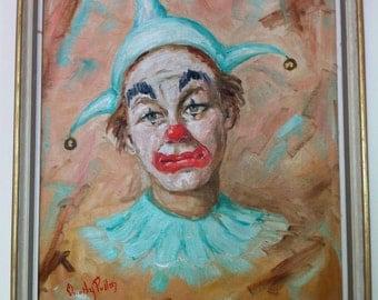 10% OFF Original Painting Pierrot Clown Signed