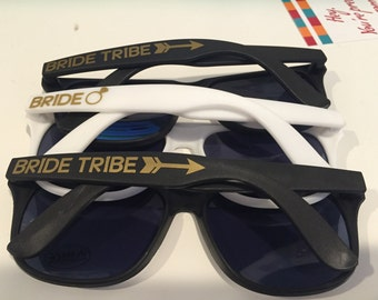 Bride / Bride Tribe sunglasses, white black pink and purple sunglasses, bridal party, bachelorette, party favors, wedding, girls weekend